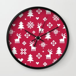 PIXEL PATTERN - WINTER FOREST RED Wall Clock