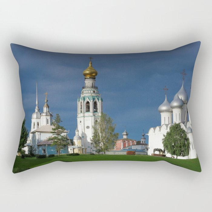 Landscape with the Ancient Saint Sophia Cathedral and Vologda Kremlin in the Russian North Rectangular Pillow
