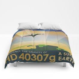 A Super Earth Retro Space Poster Comforters