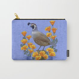 California State Bird Quail and Golden Poppy Carry-All Pouch