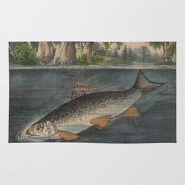 Vintage Illustration of a Hooked Brook Trout (1874) Rug