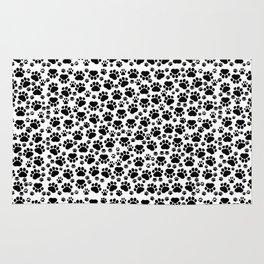 Dog Paws, Traces, Paw-prints - White Black Rug