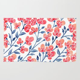 Cherry Blossoms – Melon & Navy Palette Rug
