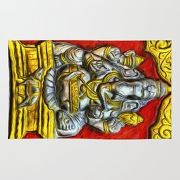 Indian Temple Elephant Van Goth Rug