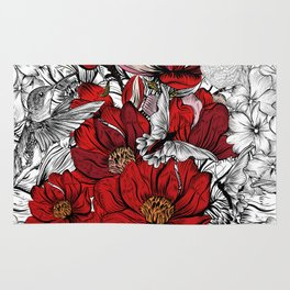 Boho Chic Red Poppy Flowers with Black and White Background Rug