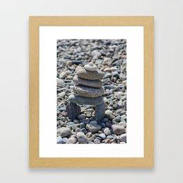 Cairn on Rocky Beach Framed Art Print