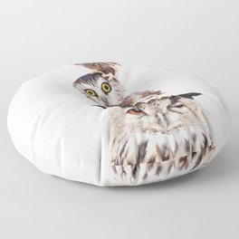 Stacked Owls on Lilac Floor Pillow