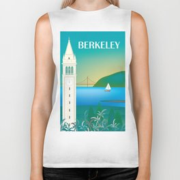 Berkeley, California - Skyline Illustration by Loose Petals Biker Tank