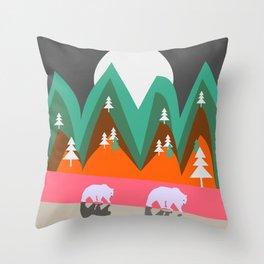 Bears walking home Throw Pillow