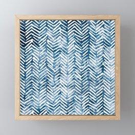 Boho Blue Shibori Tribal Pattern Framed Mini Art Print