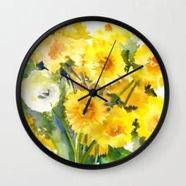 Dandelion Flowers, Herbal, herbs Wall Clock