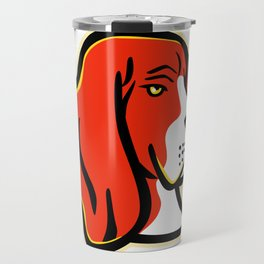 Basset Hound Dog Mascot Travel Mug
