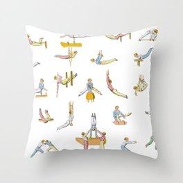 Jaunty Gymnasts Throw Pillow