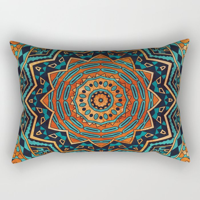 Blue and Gold Mandala Rectangular Pillow