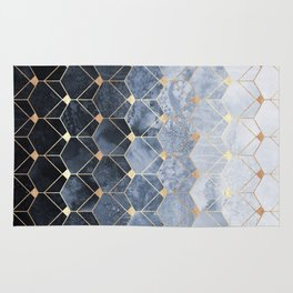Blue Hexagons And Diamonds Rug
