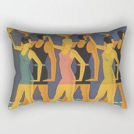 Art Deco Swimwear and Beach Balls Vintage Poster Rectangular Pillow