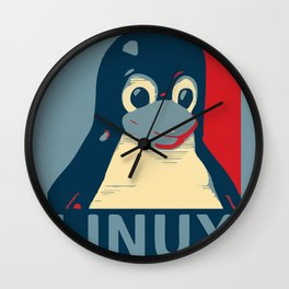 Linux tux Penguin poster head red blue  Wall Clock