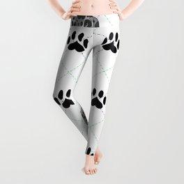 Merle Great Dane Paw Print Pattern Leggings