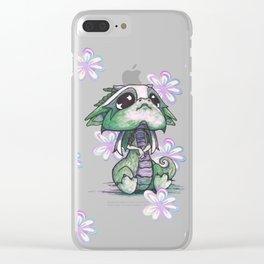 Baby Dragon with Flowers Clear iPhone Case