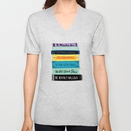 Hogwarts Stack of Wizardly Books Unisex V-Neck