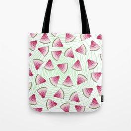 Summery Cute Watercolor Watermelons on Green Swirl Tote Bag