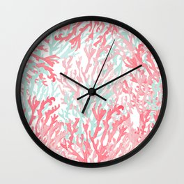 Modern hand painted coral pink teal reef coral floral Wall Clock