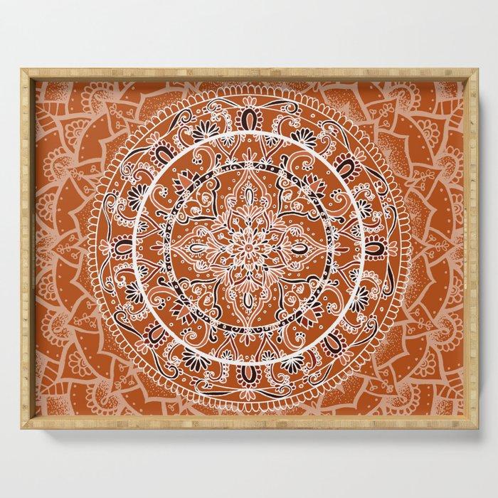 Detailed Burnt Orange Mandala Serving Tray