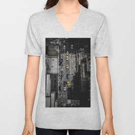 Yellow Cab from Above - Original #society6 exclusive Unisex V-Neck