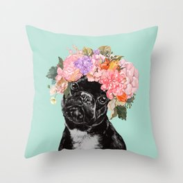French Bulldog with Flowers Crown in Green Throw Pillow