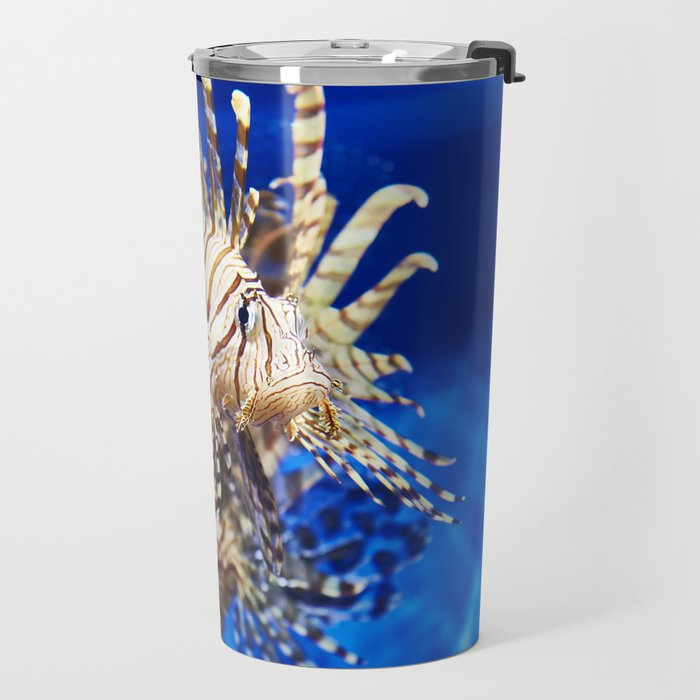 Poisonous lionfish in blue water sea Travel Mug