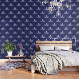 Octopus | Navy Blue and White Wallpaper