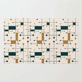 Intersecting Lines in Cream, Blue-Green and Orange Rug