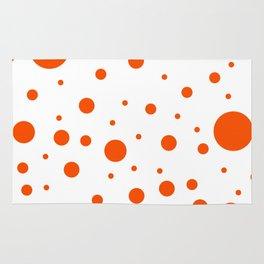 Mixed Polka Dots - Dark Orange on White Rug