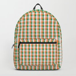 Small Orange White and Green Irish Gingham Check Plaid Backpack