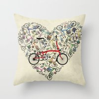 brompton Throw Pillows featuring I Love Brompton Bikes by Wyatt Design