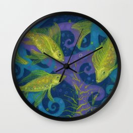 Golden Fishes, Blue &Yellow Wall Clock