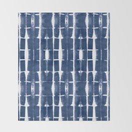 Shibori Stripes 3 Indigo Blue Throw Blanket