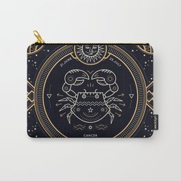 Cancer Zodiac Gold White with Black Background Carry-All Pouch