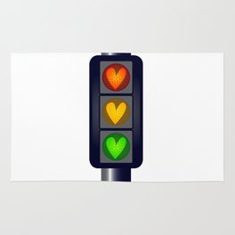 Love Heart Traffic Lights Rug