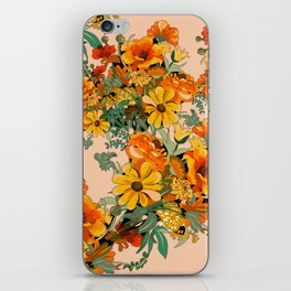 70s Pastel Floral on pink blush Boho iPhone Skin