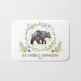 """Bear """"Be Strong & Courageous"""" Joshua 1:9 Bath Mat"""