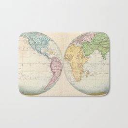 Vintage Map of The World (1862) 2 Bath Mat