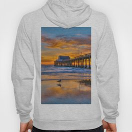 Low Tide Sunset Seagull at Newport Pier Hoody