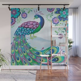 Flaunting It Peacock Wall Mural