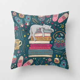 How to Hygge Like a Cat Throw Pillow