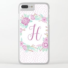 Monogram H - cute girls purple florals flower wreath, lilac florals, baby girl, baby blanket Clear iPhone Case