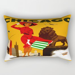 Vintage Chicago Illinois Travel Rectangular Pillow