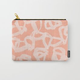 Sweet Life Triangle Dots Peach Coral Pink Carry-All Pouch
