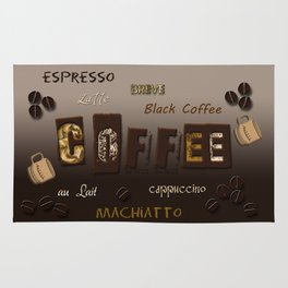 Ombre Coffee Beans and Brews Word Art Rug