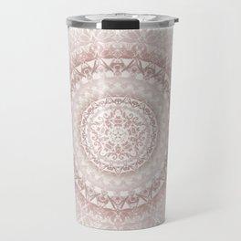 Cream Rose Floral Mandala Travel Mug